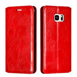 Retro Slim Magnetic Crazy Horse PU Leather Wallet Case for Samsung Galaxy S7 Edge s7edge - Red
