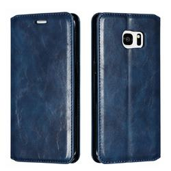 Retro Slim Magnetic Crazy Horse PU Leather Wallet Case for Samsung Galaxy S7 Edge s7edge - Blue