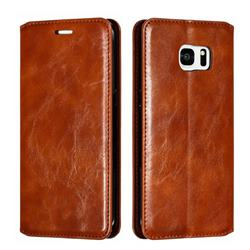 Retro Slim Magnetic Crazy Horse PU Leather Wallet Case for Samsung Galaxy S7 Edge s7edge - Brown