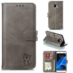 Embossing Happy Cat Leather Wallet Case for Samsung Galaxy S7 Edge s7edge - Gray