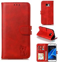Embossing Happy Cat Leather Wallet Case for Samsung Galaxy S7 Edge s7edge - Red