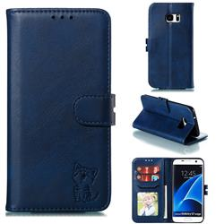 Embossing Happy Cat Leather Wallet Case for Samsung Galaxy S7 Edge s7edge - Blue