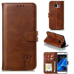 Embossing Happy Cat Leather Wallet Case for Samsung Galaxy S7 Edge s7edge - Brown