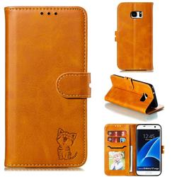Embossing Happy Cat Leather Wallet Case for Samsung Galaxy S7 Edge s7edge - Yellow