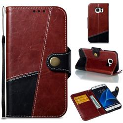 Retro Magnetic Stitching Wallet Flip Cover for Samsung Galaxy S7 Edge s7edge - Dark Red