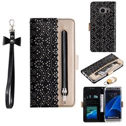 Luxury Lace Zipper Stitching Leather Phone Wallet Case for Samsung Galaxy S7 Edge s7edge - Black