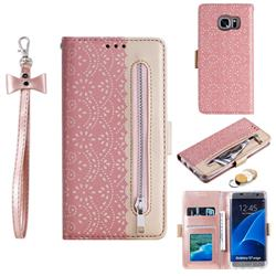 Luxury Lace Zipper Stitching Leather Phone Wallet Case for Samsung Galaxy S7 Edge s7edge - Pink
