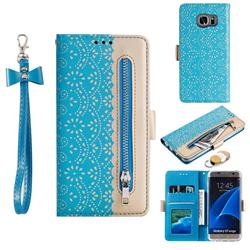 Luxury Lace Zipper Stitching Leather Phone Wallet Case for Samsung Galaxy S7 Edge s7edge - Blue