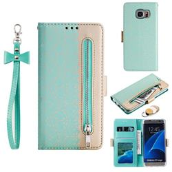 Luxury Lace Zipper Stitching Leather Phone Wallet Case for Samsung Galaxy S7 Edge s7edge - Green