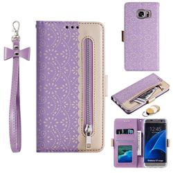 Luxury Lace Zipper Stitching Leather Phone Wallet Case for Samsung Galaxy S7 Edge s7edge - Purple