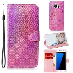 Laser Circle Shining Leather Wallet Phone Case for Samsung Galaxy S7 Edge s7edge - Pink