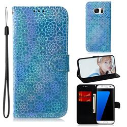 Laser Circle Shining Leather Wallet Phone Case for Samsung Galaxy S7 Edge s7edge - Blue
