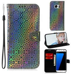 Laser Circle Shining Leather Wallet Phone Case for Samsung Galaxy S7 Edge s7edge - Silver
