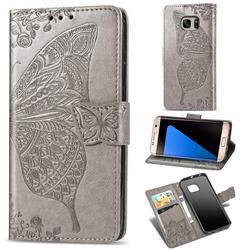 Embossing Mandala Flower Butterfly Leather Wallet Case for Samsung Galaxy S7 Edge s7edge - Gray
