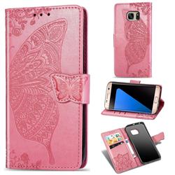 Embossing Mandala Flower Butterfly Leather Wallet Case for Samsung Galaxy S7 Edge s7edge - Pink