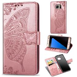 Embossing Mandala Flower Butterfly Leather Wallet Case for Samsung Galaxy S7 Edge s7edge - Rose Gold