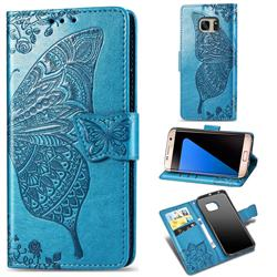 Embossing Mandala Flower Butterfly Leather Wallet Case for Samsung Galaxy S7 Edge s7edge - Blue