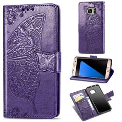 Embossing Mandala Flower Butterfly Leather Wallet Case for Samsung Galaxy S7 Edge s7edge - Dark Purple
