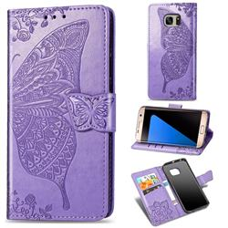 Embossing Mandala Flower Butterfly Leather Wallet Case for Samsung Galaxy S7 Edge s7edge - Light Purple