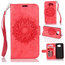 Embossing Retro Matte Mandala Flower Leather Wallet Case for Samsung Galaxy S7 Edge s7edge - Red