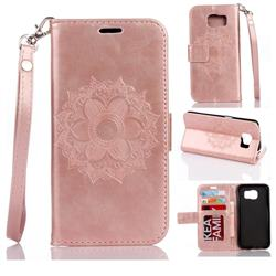 Embossing Retro Matte Mandala Flower Leather Wallet Case for Samsung Galaxy S7 Edge s7edge - Rose Gold