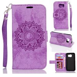 Embossing Retro Matte Mandala Flower Leather Wallet Case for Samsung Galaxy S7 Edge s7edge - Purple