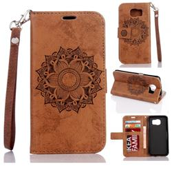 Embossing Retro Matte Mandala Flower Leather Wallet Case for Samsung Galaxy S7 Edge s7edge - Brown