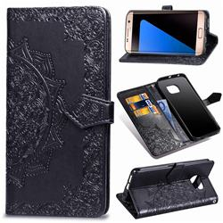 Embossing Imprint Mandala Flower Leather Wallet Case for Samsung Galaxy S7 Edge s7edge - Black