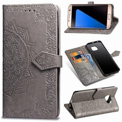 Embossing Imprint Mandala Flower Leather Wallet Case for Samsung Galaxy S7 Edge s7edge - Gray