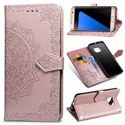 Embossing Imprint Mandala Flower Leather Wallet Case for Samsung Galaxy S7 Edge s7edge - Rose Gold