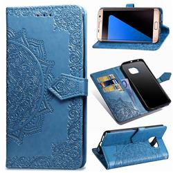 Embossing Imprint Mandala Flower Leather Wallet Case for Samsung Galaxy S7 Edge s7edge - Blue