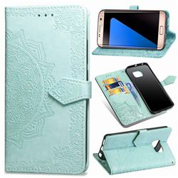 Embossing Imprint Mandala Flower Leather Wallet Case for Samsung Galaxy S7 Edge s7edge - Green