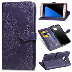 Embossing Imprint Mandala Flower Leather Wallet Case for Samsung Galaxy S7 Edge s7edge - Purple