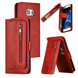 Multifunction 9 Cards Leather Zipper Wallet Phone Case for Samsung Galaxy S7 Edge s7edge - Red