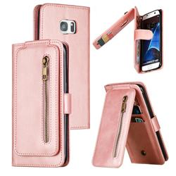 Multifunction 9 Cards Leather Zipper Wallet Phone Case for Samsung Galaxy S7 Edge s7edge - Rose Gold