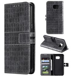 Luxury Crocodile Magnetic Leather Wallet Phone Case for Samsung Galaxy S7 Edge s7edge - Gray