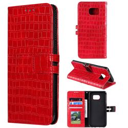 Luxury Crocodile Magnetic Leather Wallet Phone Case for Samsung Galaxy S7 Edge s7edge - Red