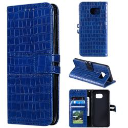 Luxury Crocodile Magnetic Leather Wallet Phone Case for Samsung Galaxy S7 Edge s7edge - Blue