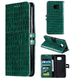 Luxury Crocodile Magnetic Leather Wallet Phone Case for Samsung Galaxy S7 Edge s7edge - Green