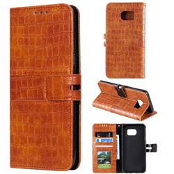 Luxury Crocodile Magnetic Leather Wallet Phone Case for Samsung Galaxy S7 Edge s7edge - Brown