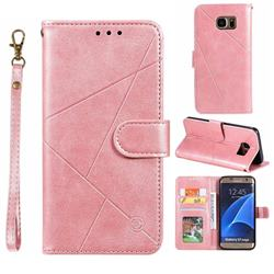 Embossing Geometric Leather Wallet Case for Samsung Galaxy S7 Edge s7edge - Rose Gold