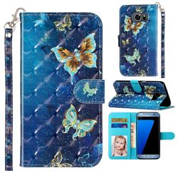 Rankine Butterfly 3D Leather Phone Holster Wallet Case for Samsung Galaxy S7 Edge s7edge