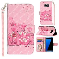 Pink Bear 3D Leather Phone Holster Wallet Case for Samsung Galaxy S7 Edge s7edge