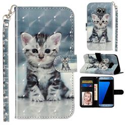 Kitten Cat 3D Leather Phone Holster Wallet Case for Samsung Galaxy S7 Edge s7edge