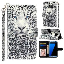 White Leopard 3D Leather Phone Holster Wallet Case for Samsung Galaxy S7 Edge s7edge