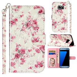 Rambler Rose Flower 3D Leather Phone Holster Wallet Case for Samsung Galaxy S7 Edge s7edge