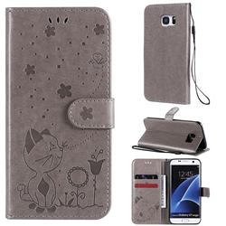 Embossing Bee and Cat Leather Wallet Case for Samsung Galaxy S7 Edge s7edge - Gray