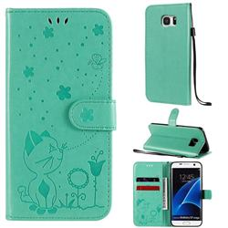 Embossing Bee and Cat Leather Wallet Case for Samsung Galaxy S7 Edge s7edge - Green