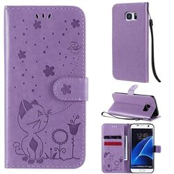 Embossing Bee and Cat Leather Wallet Case for Samsung Galaxy S7 Edge s7edge - Purple