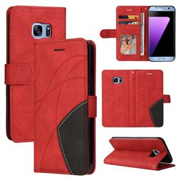 Luxury Two-color Stitching Leather Wallet Case Cover for Samsung Galaxy S7 Edge s7edge - Red